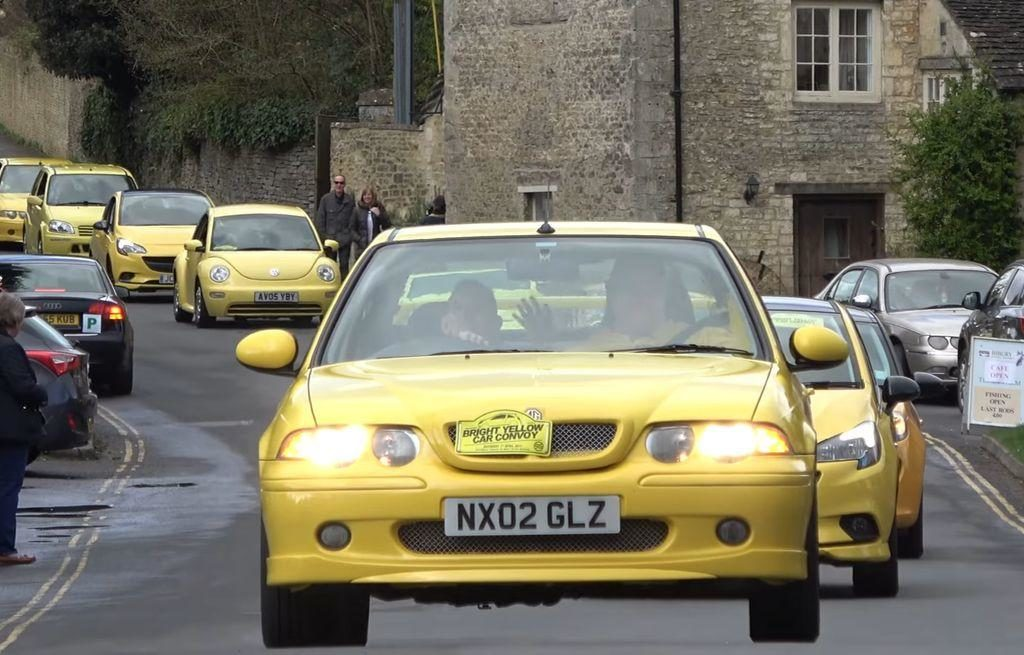 Bright Yellow Car Convoy